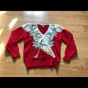 vintage sweater christmas red knit size:M holiday